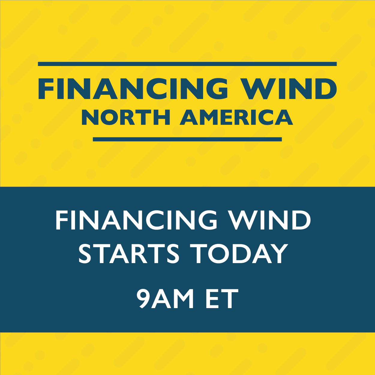 Join us today for Financing Wind North America!